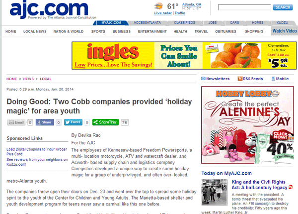 Doing Good: Two Cobb Companies Provided 'Holiday Magic' for Area Youth